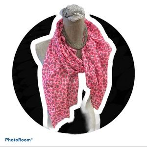 Pink Animal Print Scarf 70 inches